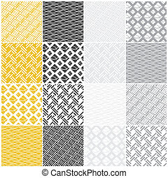 geometric seamless patterns: squares, lines, waves - set of...