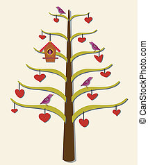Hearts, tree, birds