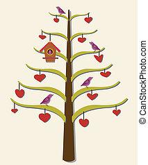 Hearts, tree, birds