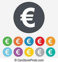 Euro sign icon EUR currency symbol Money label Round...