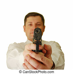 The man holds handgun - The man in a white shirt and a tie...