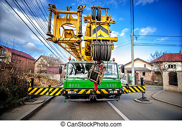 Industrial mobile crane with hydraulic and telescopic rack...