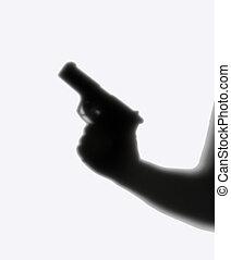 sombra, extranjero, pistola