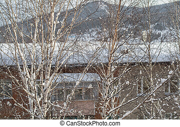 Winter holiday house in snowy mountains