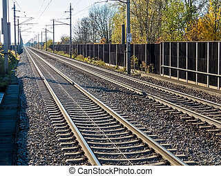 rails of a railroad - tracks for train and railway track...