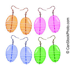 Earrings made of glass on a white background. Four pairs