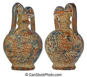 age-old amphora with bloom of salt and gypsum in a brown...