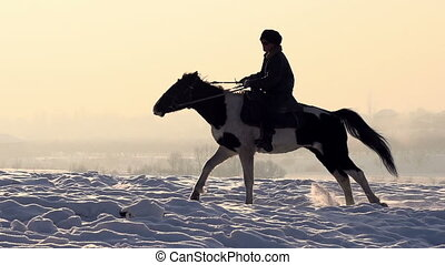 Man on horseback - A man on a horse galloping on a snowy...
