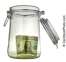 money-box - money box in form transparent glass jar