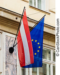 eu flag and austria flag - the european union (eu) flag and...