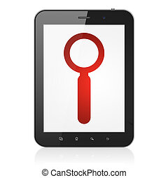 Data concept: Search on tablet pc computer