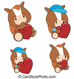 horse baby cartoon heart set
