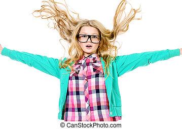 happy surprise - Emotional ten years girl in big glasses....
