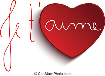 Valentine Day Je taime Heart - Vector - Valentine Day Je...