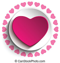 Valentine Day Love Heart Pink Background - Vector -...