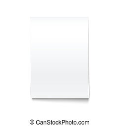 Isolated on White Blank Office Paper Mock-Up