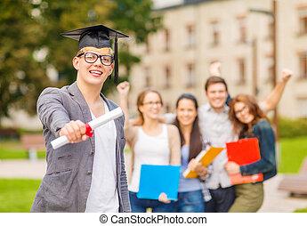 niño, adolescente,  Diploma,  corner-cap, sonriente