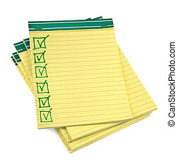 lined paper notebooks with completed checklist on white...