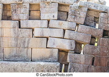 erosion in a main temple wall at Machu Picchu, Incas ruins...