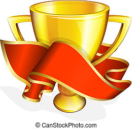 Gold cup with red ribbon - Vector illustration of gold cup...