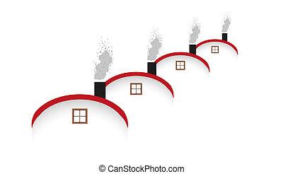 casas, arredondado, telhado, fumar, chaminé