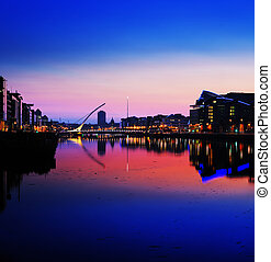 North bank of the river Liffey at Dublin City Center at...