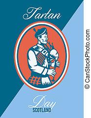 Tartan Day Scotland Bagpiper Greeting Card - Greeting card...
