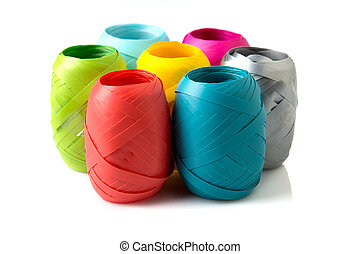 Color Ribbon - 04 - Set of colorful paper ribbons on white...