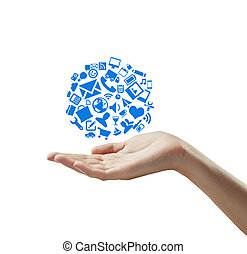 cloud symbol - hand holding cloud symbol, isolated