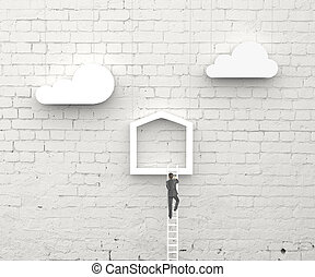 business concept - man climbing on ladder in abstract house