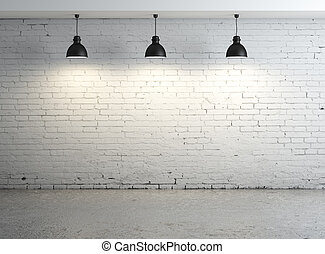 oom with ceiling lamp - High resolution brick concrete room...