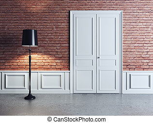 luxury interior, white door and lamp