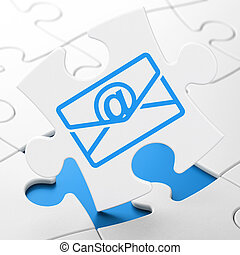 Finance concept: Email on puzzle background - Finance...