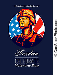 American Veteran Serviceman Greeting Card - Greeting card...