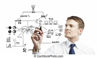 strategic planning - young businessman drawing strategic...