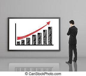man looking at growth chart