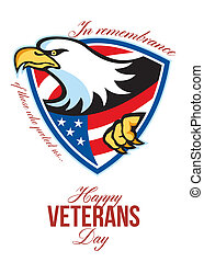 Happy Veterans Day American Eagle Greeting Card - Greeting...