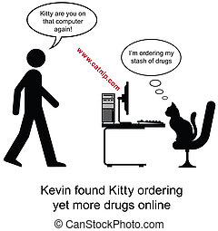 Kitty drugs - Kevin found Kitty ordering drugs cartoon...