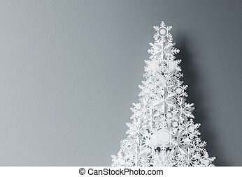 paper tree - paper christmass tree on gray background