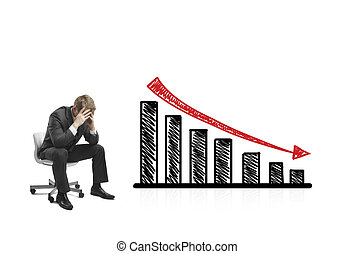 drawing falling graph - sad businessman sitting on chair...
