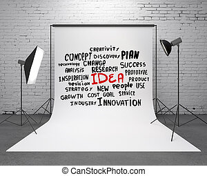 studio with business tags - studio and backdrop with...