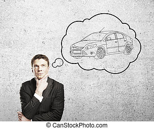 thinks about a  car - man thinks about a new  car