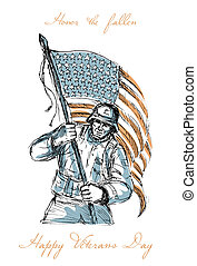 American Soldier Happy Veterans Day Greeting Card - Greeting...