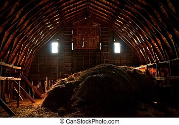 Light Streams into a Barn Hayloft - The two end windows, hay...