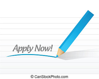 apply now message illustration design over a white...