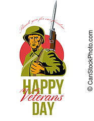 Veterans Day Greeting Card American WWII Soldier - Greeting...