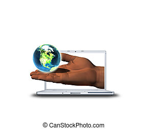 3D hand with earth on laptop