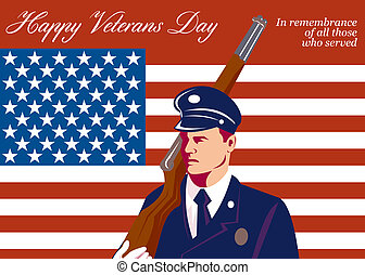 American Veterans Day Greeting Card Retro - Greeting card...