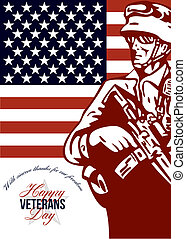 Veterans Day Modern American Soldier Card - Greeting card...