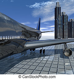 airliner with a blue sky in the background
